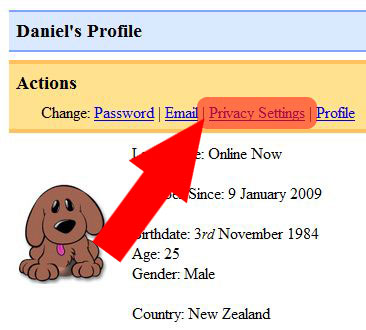 Link to Privacy Settings Page