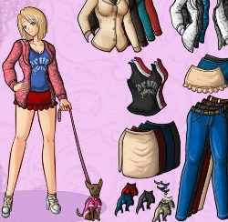 Anime Girl and Dog Dress Up Game