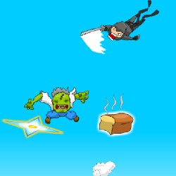 Super Ninja Skydiving Plus Zombies Game
