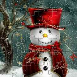Cute Snowman Jigsaw Game