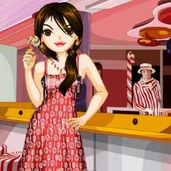Cute Candy Shop Girl Dress Up Game